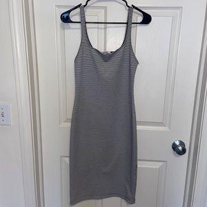 Zara Black and White Striped Bodycon Dress